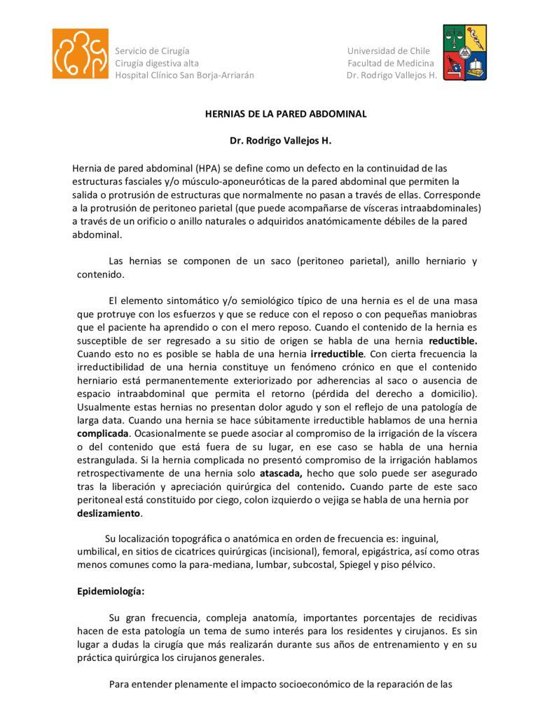 thumbnail of 10. Hernias de la pared abdominal (Dr. Rodrigo Vallejos H.)